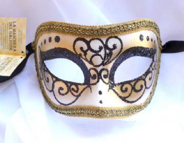 Genuine Venetian Black Glitter half Mask